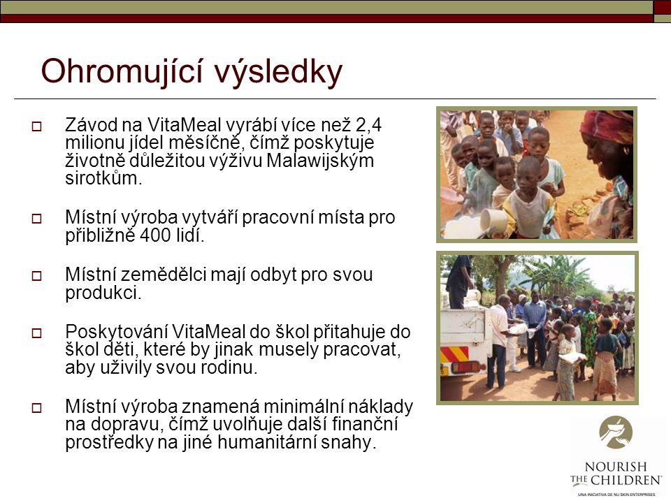 Ohromující výsledky  Závod na VitaMeal vyrábí více než 2,4 milionu jídel měsíčně, čímž poskytuje životně důležitou výživu Malawijským sirotkům.  Mís