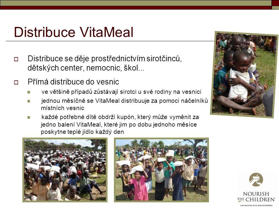 Distribuce VitaMeal  Distribuce se děje prostřednictvím sirotčinců, dětských center, nemocnic, škol...  Přímá distribuce do vesnic ve většině případ