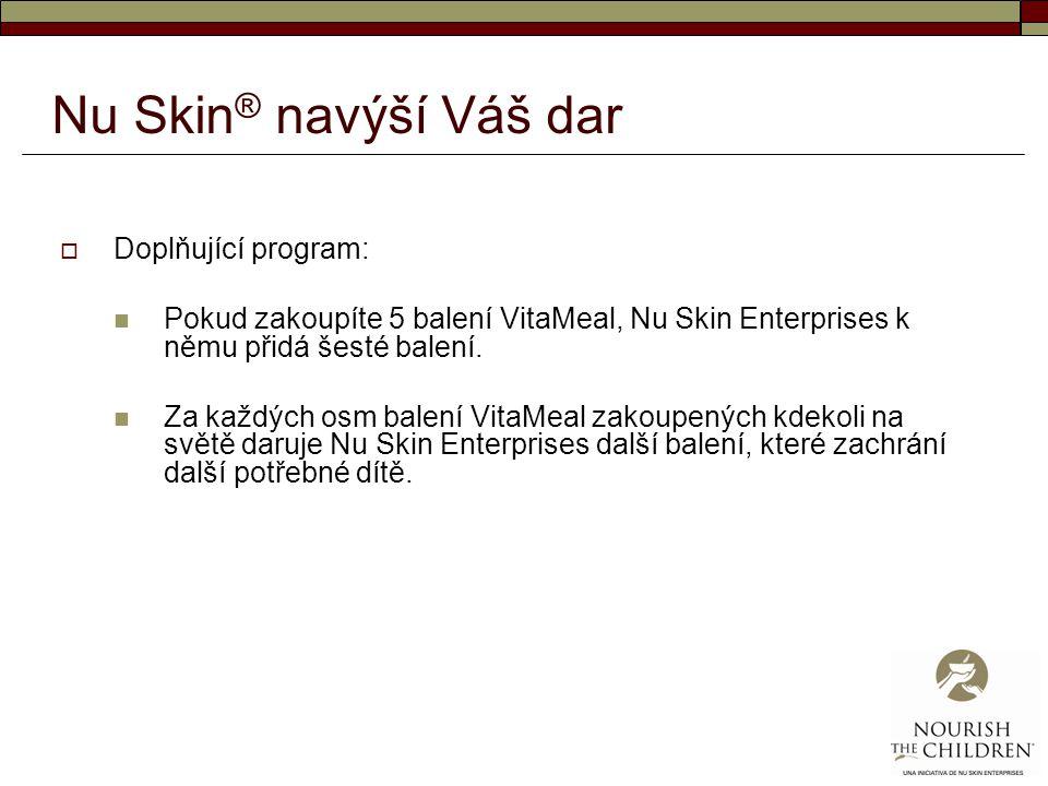 Nu Skin ® navýší Váš dar  Doplňující program: Pokud zakoupíte 5 balení VitaMeal, Nu Skin Enterprises k němu přidá šesté balení. Za každých osm balení