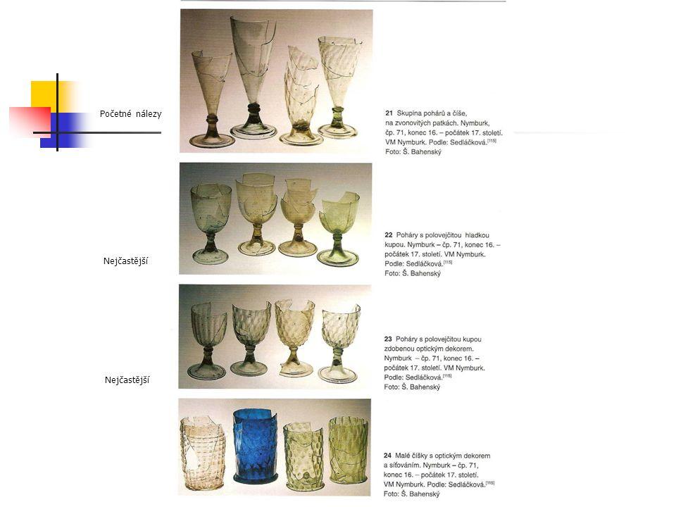 Renesanční sklo Nejčastější Početné nálezy