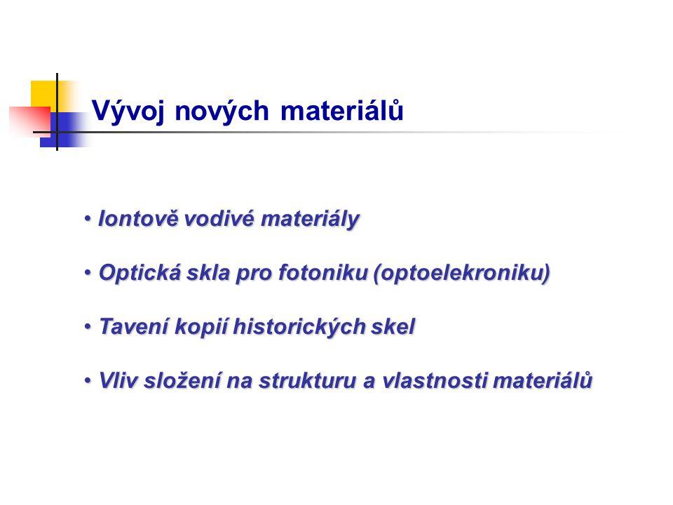 Vývoj nových materiálů Iontově vodivé materiály Iontově vodivé materiály Optická skla pro fotoniku (optoelekroniku) Optická skla pro fotoniku (optoele