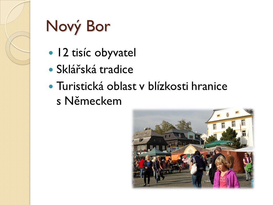 Nový Bor 12 tisíc obyvatel Sklářská tradice Turistická oblast v blízkosti hranice s Německem