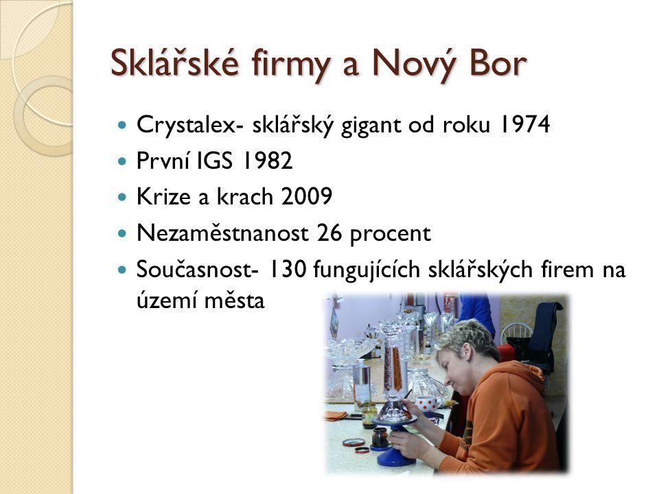Sklářské firmy a Nový Bor Crystalex- sklářský gigant od roku 1974 První IGS 1982 Krize a krach 2009 Nezaměstnanost 26 procent Současnost- 130 fungujících sklářských firem na území města