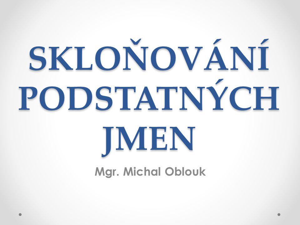 SKLOŇOVÁNÍ PODSTATNÝCH JMEN Mgr. Michal Oblouk