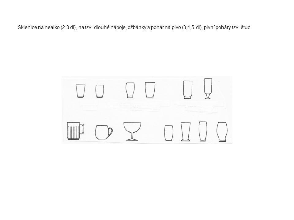 Sklenice na nealko (2-3 dl), na tzv. dlouhé nápoje, džbánky a pohár na pivo (3,4,5 dl), pivní poháry tzv. štuc.