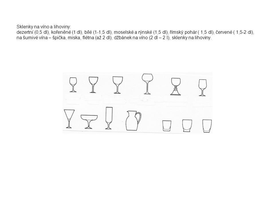Sklenky na víno a lihoviny: dezertní (0,5 dl), kořeněné (1 dl), bílé (1-1,5 dl), moselské a rýnské (1,5 dl), římský pohár ( 1,5 dl), červené ( 1,5-2 d