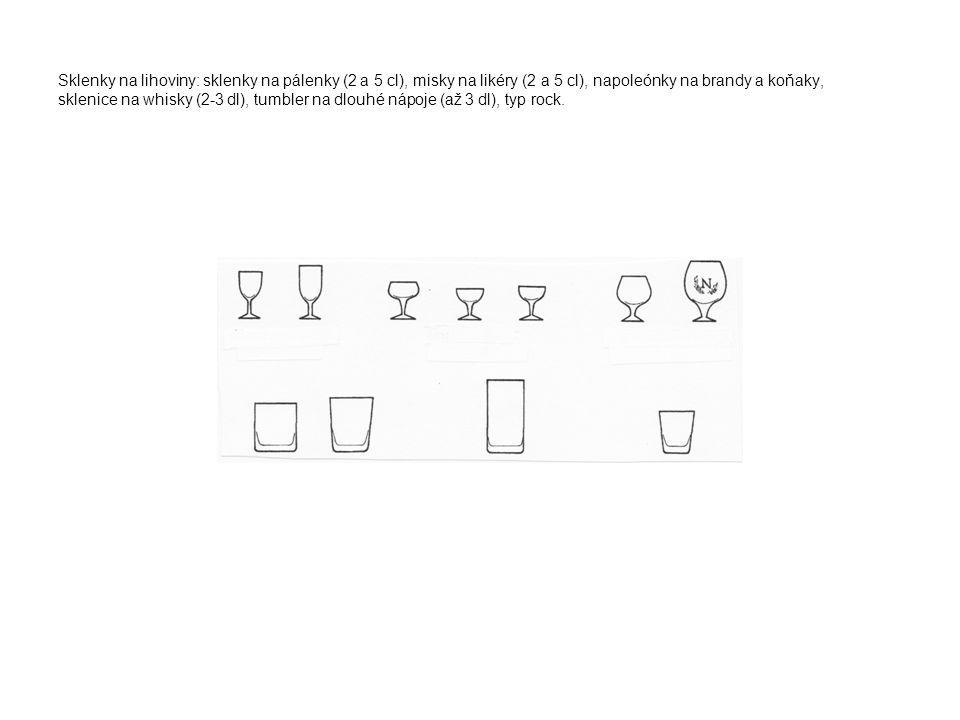 Sklenky na lihoviny: sklenky na pálenky (2 a 5 cl), misky na likéry (2 a 5 cl), napoleónky na brandy a koňaky, sklenice na whisky (2-3 dl), tumbler na