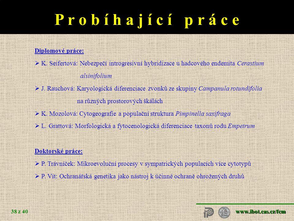 www.ibot.cas.cz/fcm 38 z 40 P r o b í h a j í c í p r á c e Diplomové práce:  K.