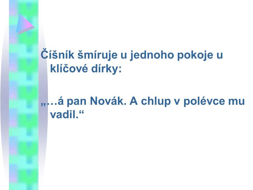 """Číšník šmíruje u jednoho pokoje u klíčové dírky: """"…á pan Novák. A chlup v polévce mu vadil."""""""