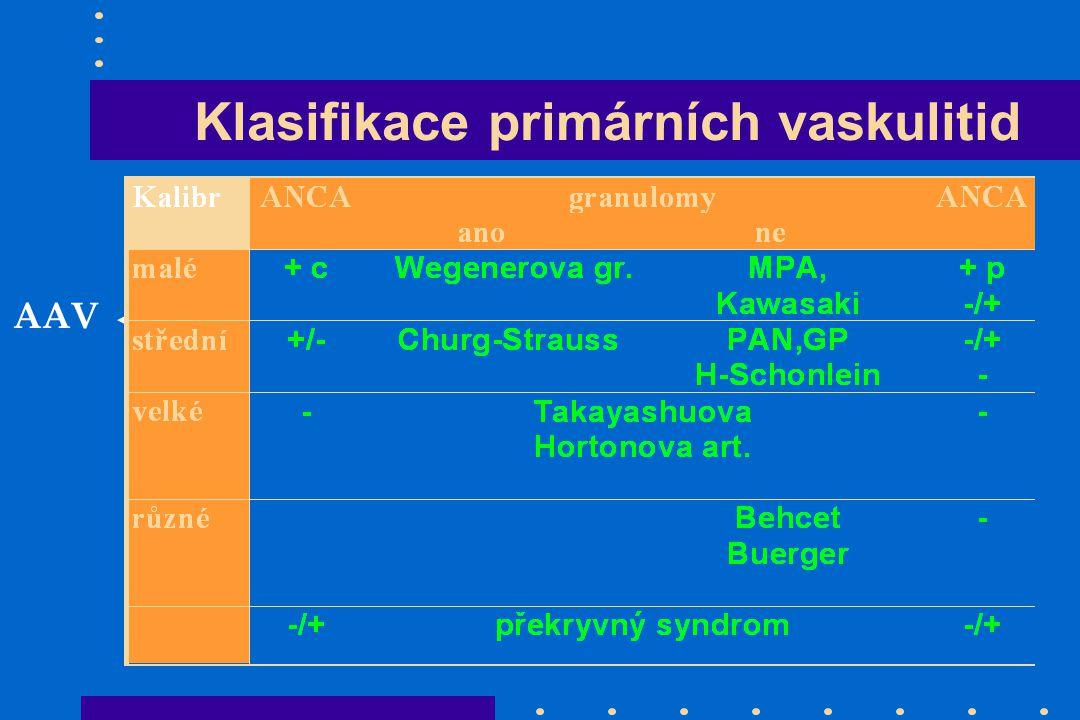 Klasifikace primárních vaskulitid AAV