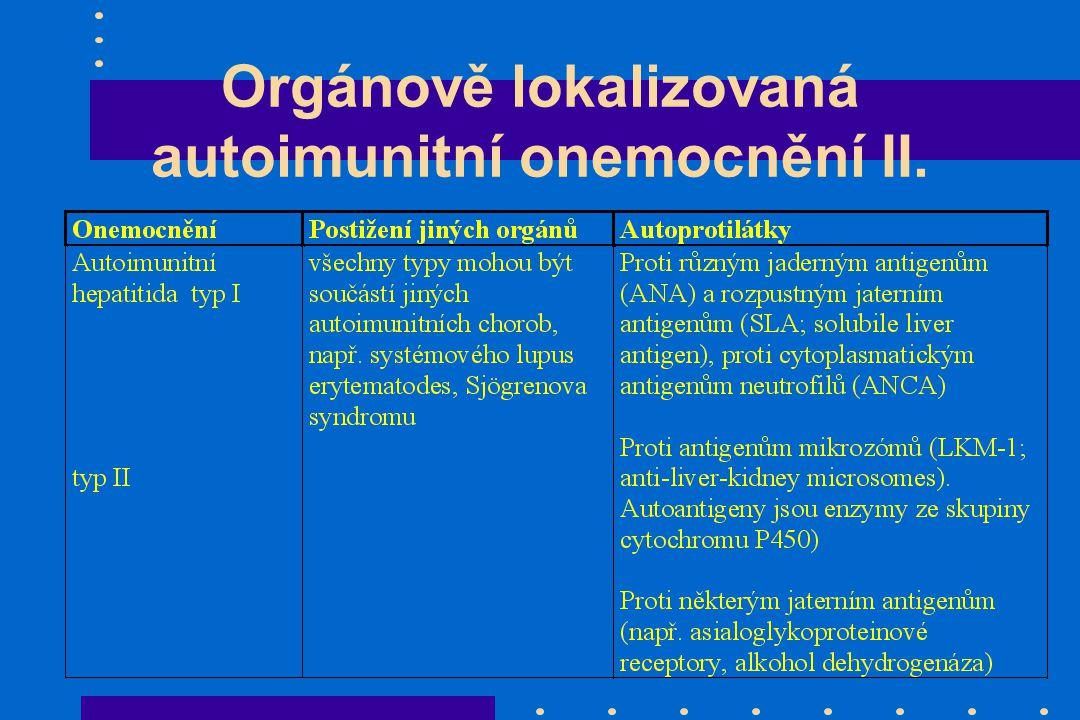 Orgánově lokalizovaná autoimunitní onemocnění II.