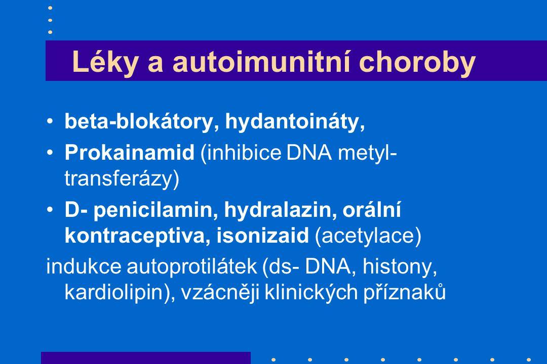 Léky a autoimunitní choroby beta-blokátory, hydantoináty, Prokainamid (inhibice DNA metyl- transferázy) D- penicilamin, hydralazin, orální kontraceptiva, isonizaid (acetylace) indukce autoprotilátek (ds- DNA, histony, kardiolipin), vzácněji klinických příznaků