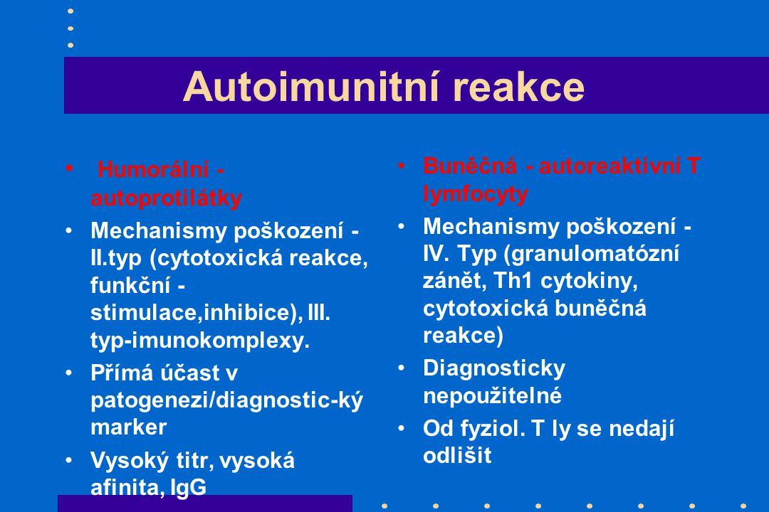 Autoimunitní reakce Humorální - autoprotilátky Mechanismy poškození - II.typ (cytotoxická reakce, funkční - stimulace,inhibice), III.