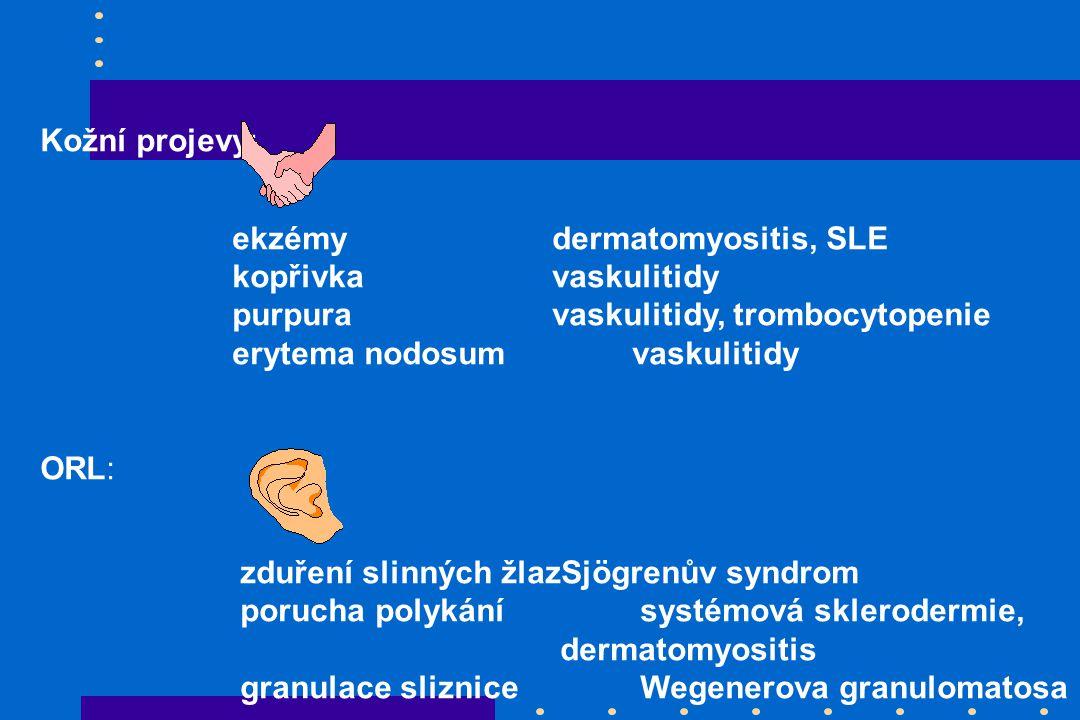 Kožní projevy: ekzémydermatomyositis, SLE kopřivkavaskulitidy purpuravaskulitidy, trombocytopenie erytema nodosumvaskulitidy ORL: zduření slinných žlazSjögrenův syndrom porucha polykánísystémová sklerodermie, dermatomyositis granulace slizniceWegenerova granulomatosa