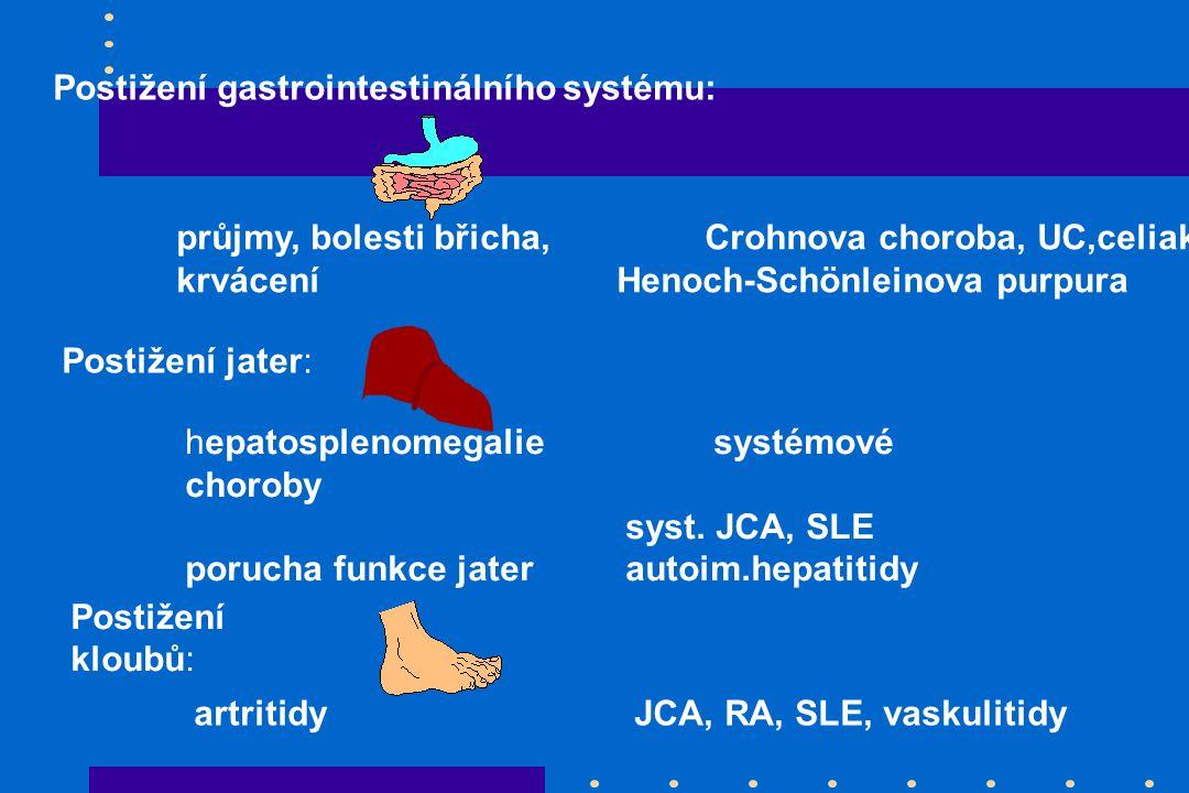 Postižení gastrointestinálního systému: průjmy, bolesti břicha,Crohnova choroba, UC,celiakie krvácení Henoch-Schönleinova purpura Postižení jater: hepatosplenomegaliesystémové choroby syst.