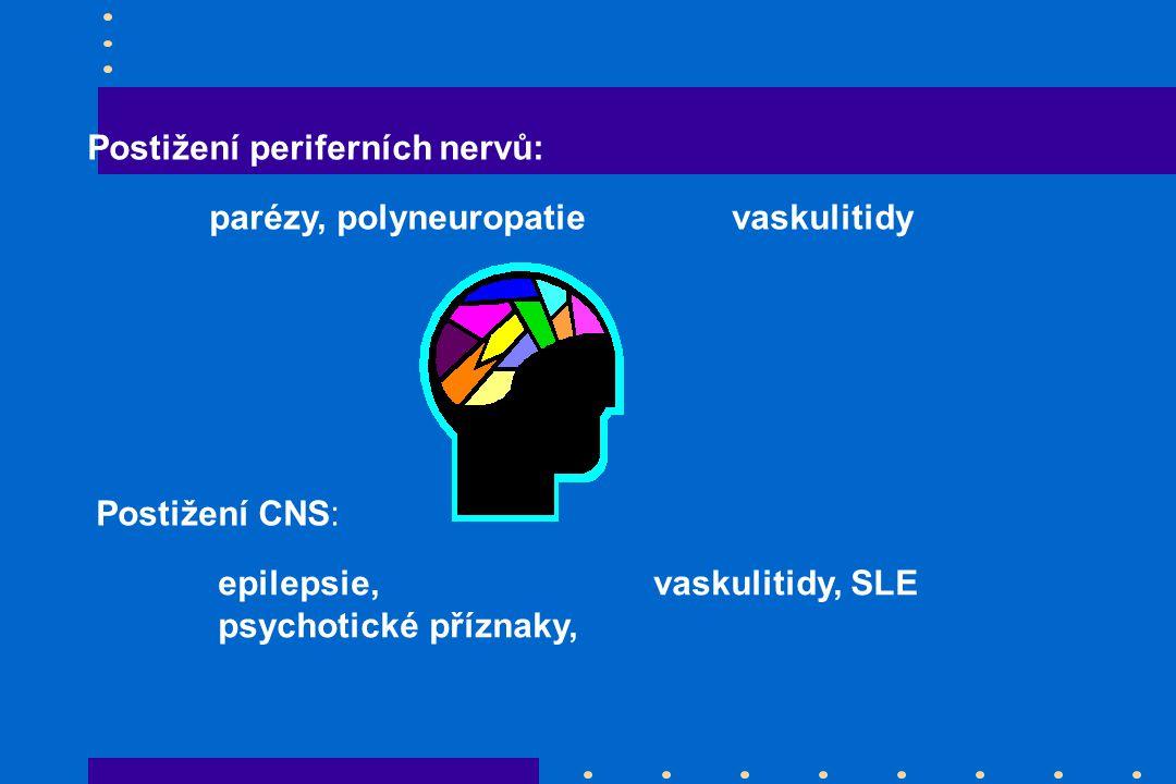 Postižení periferních nervů: parézy, polyneuropatievaskulitidy Postižení CNS: epilepsie, vaskulitidy, SLE psychotické příznaky,