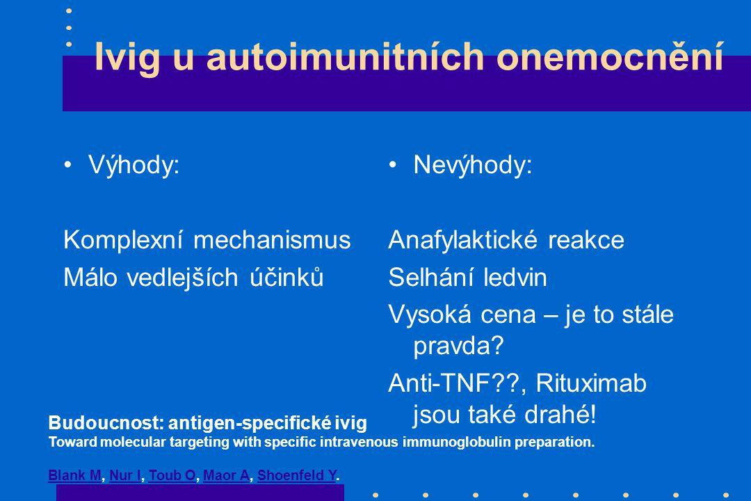 Ivig u autoimunitních onemocnění Výhody: Komplexní mechanismus Málo vedlejších účinků Nevýhody: Anafylaktické reakce Selhání ledvin Vysoká cena – je to stále pravda.