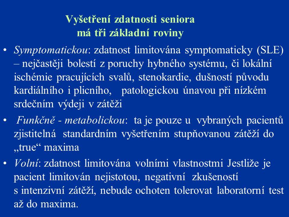 Vyšetření zdatnosti seniora má tři základní roviny Symptomatickou: zdatnost limitována symptomaticky (SLE) – nejčastěji bolestí z poruchy hybného syst