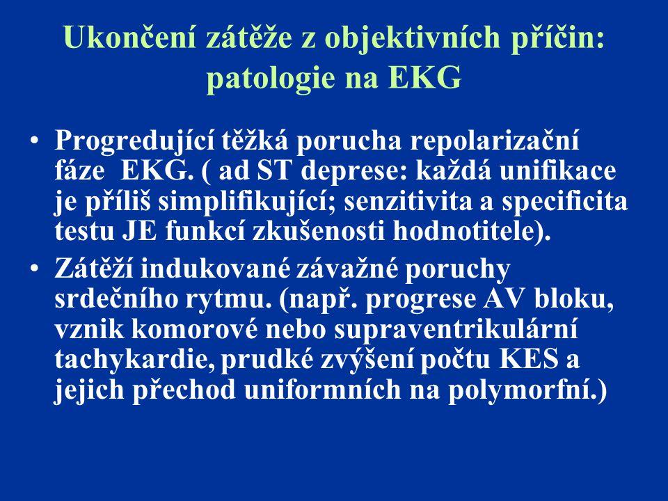 Ukončení zátěže z objektivních příčin: patologie na EKG Progredující těžká porucha repolarizační fáze EKG. ( ad ST deprese: každá unifikace je příliš