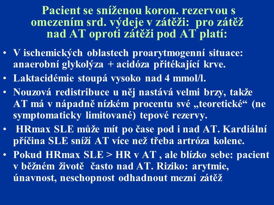 Pacient se sníženou koron. rezervou s omezením srd. výdeje v zátěži: pro zátěž nad AT oproti zátěži pod AT platí: V ischemických oblastech proarytmoge