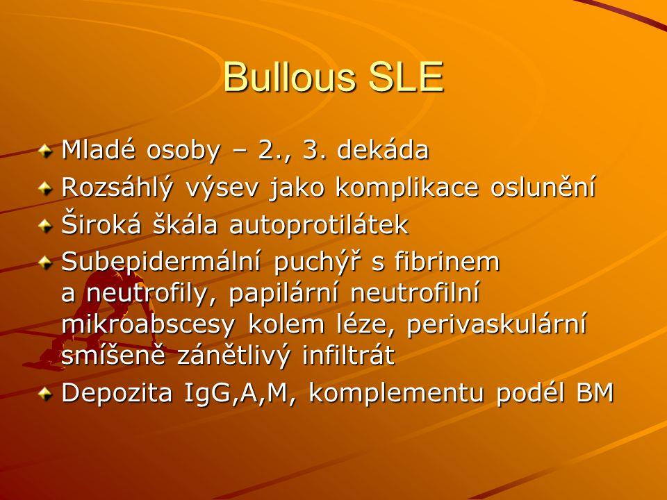 Bullous SLE Mladé osoby – 2., 3. dekáda Rozsáhlý výsev jako komplikace oslunění Široká škála autoprotilátek Subepidermální puchýř s fibrinem a neutrof