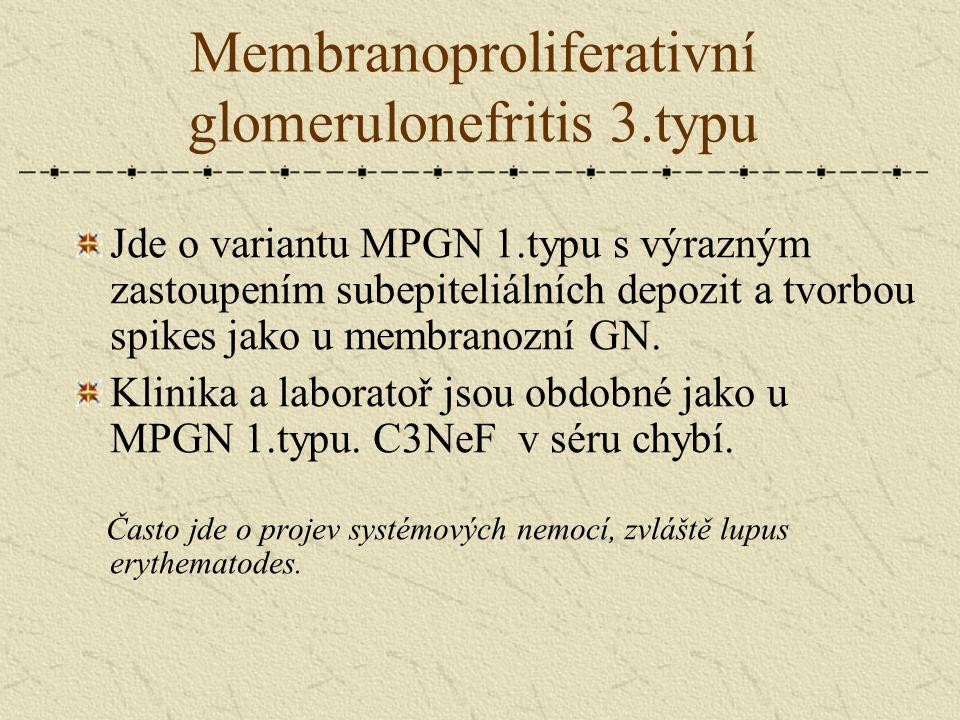Membranoproliferativní glomerulonefritis 3.typu Jde o variantu MPGN 1.typu s výrazným zastoupením subepiteliálních depozit a tvorbou spikes jako u mem