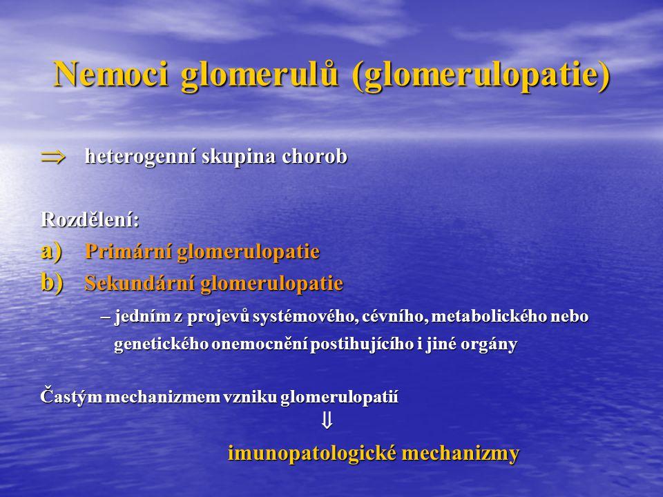 Imunopatologické procesy Poškození ledvin závisí: - na mechanizmu a intenzitě imunitní reakce - na lokalizaci antigenu (Ag) Mechanizmy:  Poškození imunokoplexy a) vychytávání cirkulujících imunokomplexů (IK) b) tvorba depozit IK tvořených nonrenálním Ag adherovaným na struktury ledviny a příslušné protilátky c) tvorba depozit in situ (tvořené vnitřním renálním Ag a jeho interakcí s Pt)  Poškození cytotoxickými protilátkami  Buňkami zprostředkovaná reakce s produkcí lymfokinů  Poškození komplementem a zánětlivými mediátory