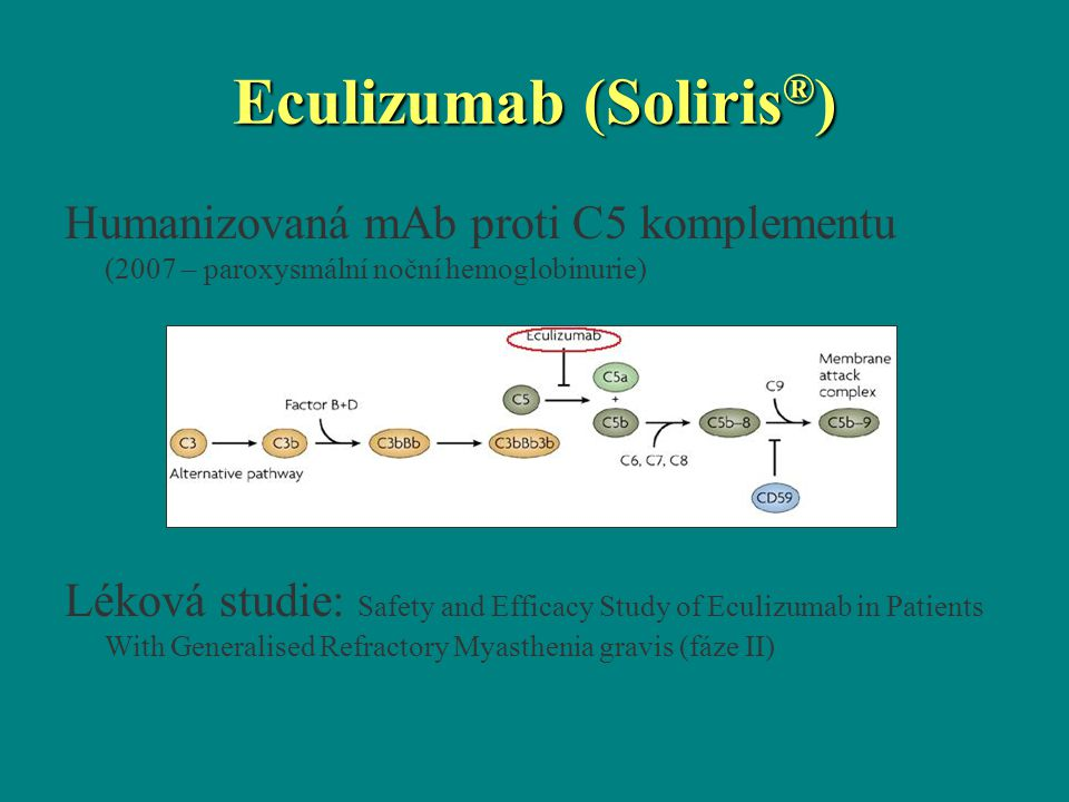 Humanizovaná mAb proti C5 komplementu (2007 – paroxysmální noční hemoglobinurie) Léková studie: Safety and Efficacy Study of Eculizumab in Patients Wi