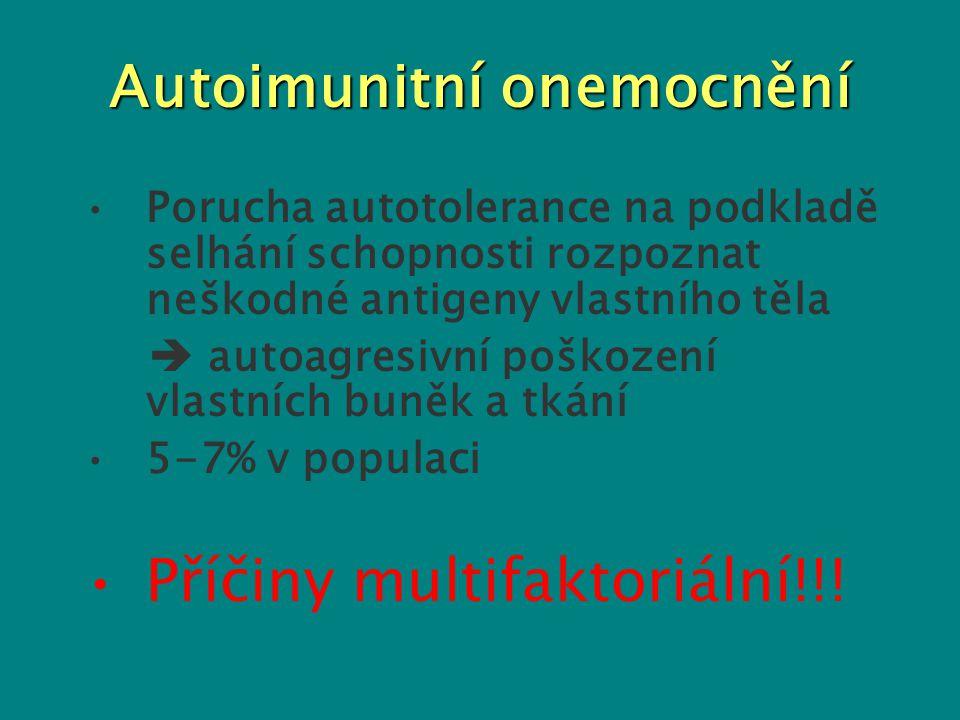 Autoimunitní onemocnění Porucha autotolerance na podkladě selhání schopnosti rozpoznat neškodné antigeny vlastního těla  autoagresivní poškození vlas