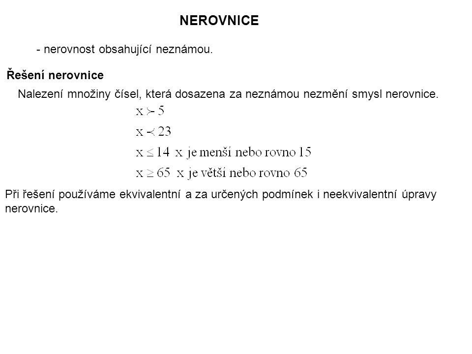 NEROVNICE - nerovnost obsahující neznámou. Řešení nerovnice Nalezení množiny čísel, která dosazena za neznámou nezmění smysl nerovnice. Při řešení pou