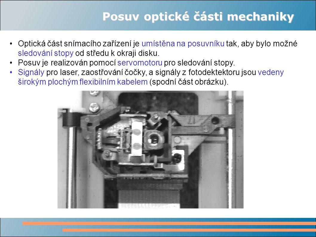 Posuv optické části mechaniky Optická část snímacího zařízení je umístěna na posuvníku tak, aby bylo možné sledování stopy od středu k okraji disku. P