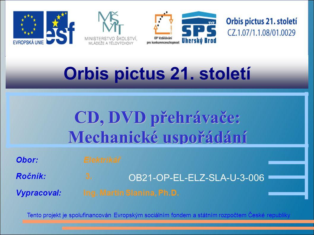 Orbis pictus 21. století Tento projekt je spolufinancován Evropským sociálním fondem a státním rozpočtem České republiky CD, DVD přehrávače: Mechanick