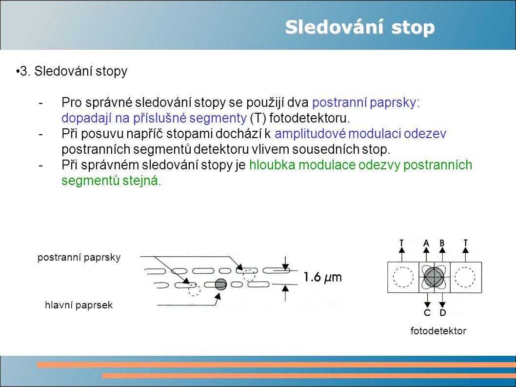 Sledování stop 3. Sledování stopy - Pro správné sledování stopy se použijí dva postranní paprsky: dopadají na příslušné segmenty (T) fotodetektoru. -P