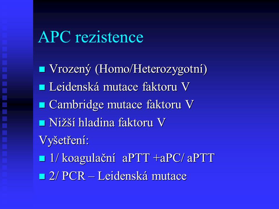 APC rezistence Vrozený (Homo/Heterozygotní) Vrozený (Homo/Heterozygotní) Leidenská mutace faktoru V Leidenská mutace faktoru V Cambridge mutace faktor