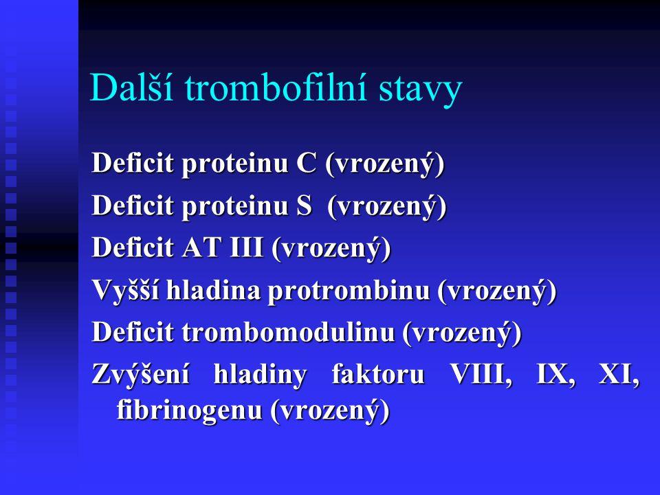 Další trombofilní stavy Deficit proteinu C (vrozený) Deficit proteinu S (vrozený) Deficit proteinu S (vrozený) Deficit AT III (vrozený) Vyšší hladina