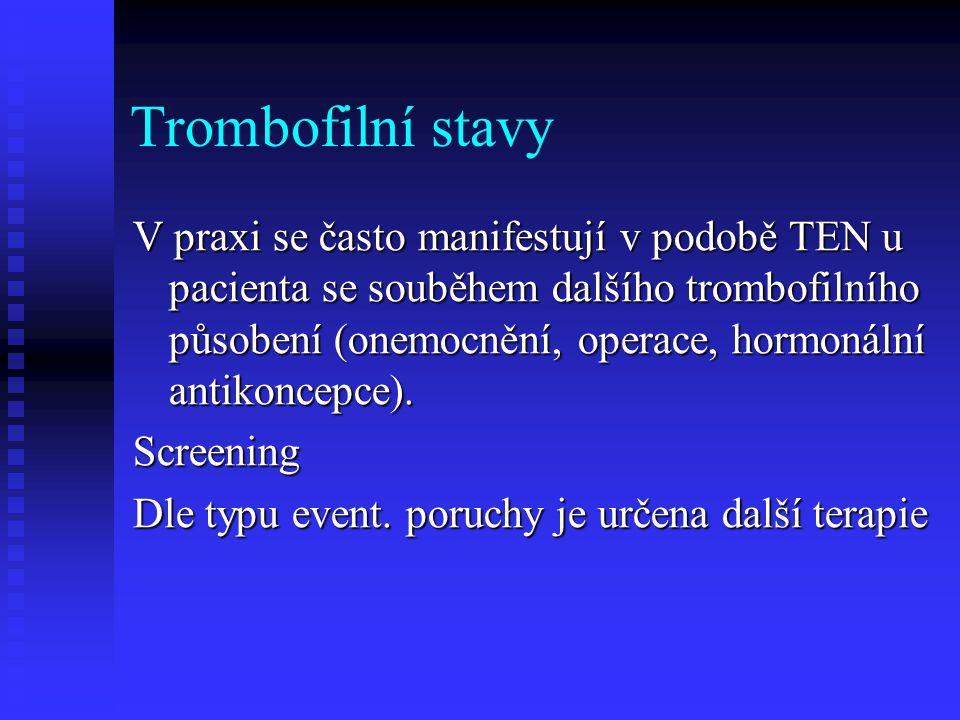 Trombofilní stavy V praxi se často manifestují v podobě TEN u pacienta se souběhem dalšího trombofilního působení (onemocnění, operace, hormonální ant