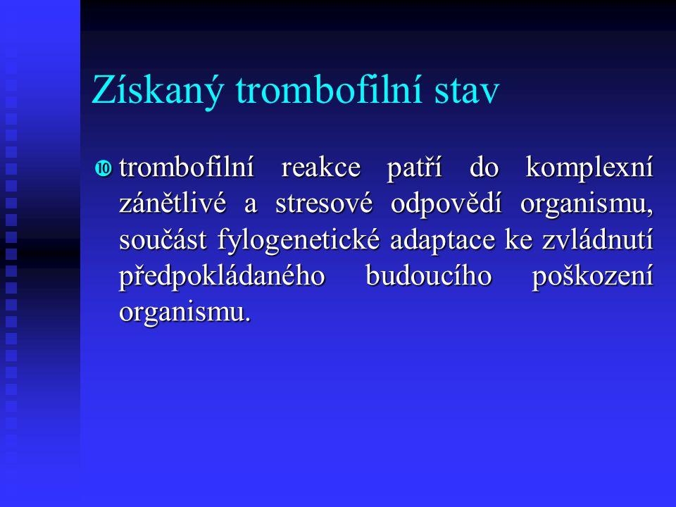 Získaný trombofilní stav  trombofilní reakce patří do komplexní zánětlivé a stresové odpovědí organismu, součást fylogenetické adaptace ke zvládnutí