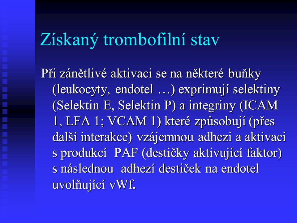 Získaný trombofilní stav Do získaných trombofilních stavů patří kromě infekčních také také nádorová onemocnění včetně hematologických malignit (nezřídka bývá první projev onkologického onemocnění v podobě TEN)