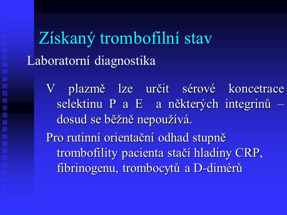 Další trombofilní stavy Deficit proteinu C (vrozený) Deficit proteinu S (vrozený) Deficit proteinu S (vrozený) Deficit AT III (vrozený) Vyšší hladina protrombinu (vrozený) Deficit trombomodulinu (vrozený) Zvýšení hladiny faktoru VIII, IX, XI, fibrinogenu (vrozený)