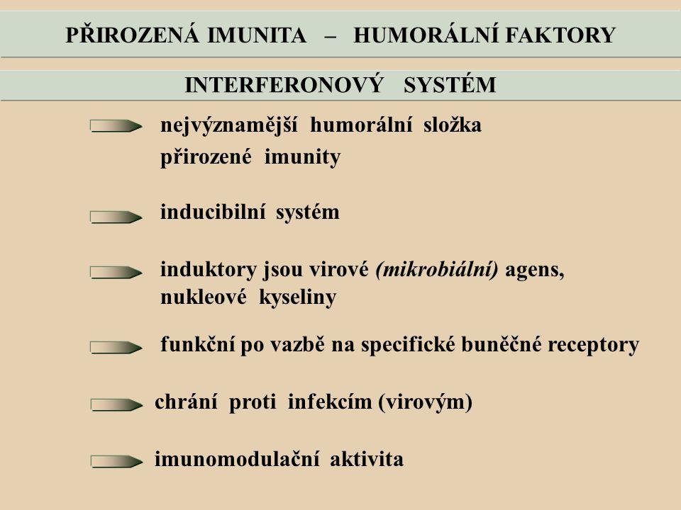 PŘIROZENÁ IMUNITA – HUMORÁLNÍ FAKTORY nejvýznamější humorální složka přirozené imunity inducibilní systém induktory jsou virové (mikrobiální) agens, nukleové kyseliny funkční po vazbě na specifické buněčné receptory chrání proti infekcím (virovým) imunomodulační aktivita INTERFERONOVÝ SYSTÉM