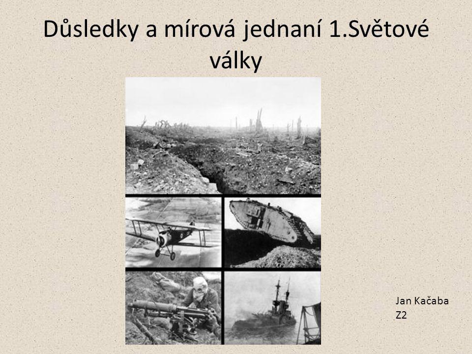 Důsledky a mírová jednaní 1.Světové války Jan Kačaba Z2