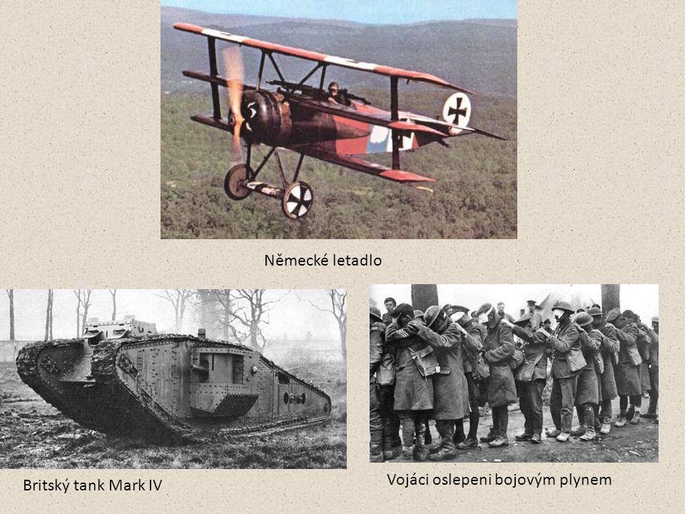 Britský tank Mark IV Vojáci oslepeni bojovým plynem Německé letadlo