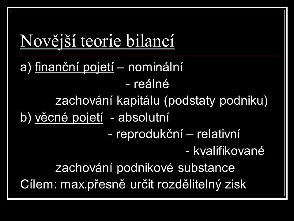 Novější teorie bilancí a) finanční pojetí – nominální - reálné zachování kapitálu (podstaty podniku) b) věcné pojetí - absolutní - reprodukční – relat