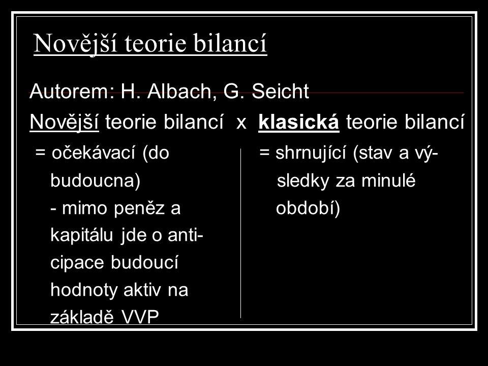 Novější teorie bilancí Autorem: H. Albach, G. Seicht Novější teorie bilancí x klasická teorie bilancí = očekávací (do = shrnující (stav a vý- budoucna