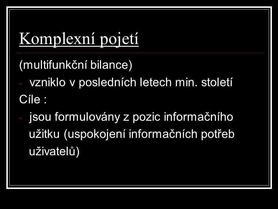 Komplexní pojetí (multifunkční bilance) - vzniklo v posledních letech min. století Cíle : - jsou formulovány z pozic informačního užitku (uspokojení i