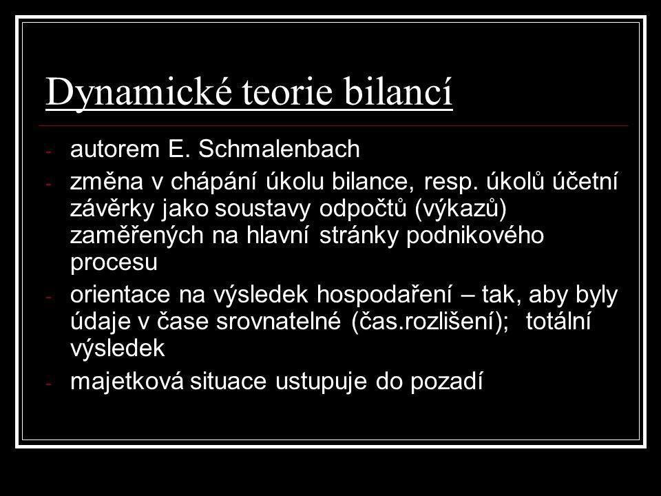 Dynamické teorie bilancí - autorem E. Schmalenbach - změna v chápání úkolu bilance, resp. úkolů účetní závěrky jako soustavy odpočtů (výkazů) zaměřený