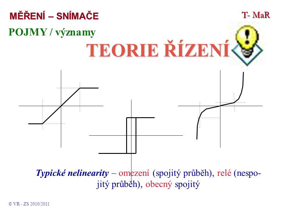 T- MaR MĚŘENÍ – SNÍMAČE POJMY / významy TEORIE ŘÍZENÍ © VR - ZS 2010/2011 Typické nelinearity – omezení (spojitý průběh), relé (nespo- jitý průběh), obecný spojitý