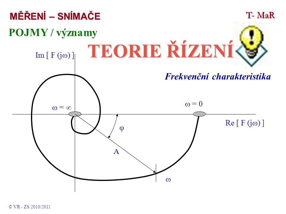 T- MaR MĚŘENÍ – SNÍMAČE POJMY / významy TEORIE ŘÍZENÍ © VR - ZS 2010/2011 Frekvenční charakteristika Re [ F (jω) ] Im [ F (jω) ] ω = 0 ω = ∞ A φ ω