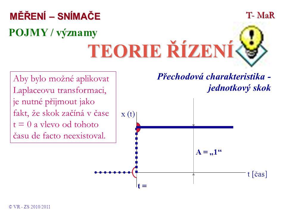 """T- MaR MĚŘENÍ – SNÍMAČE POJMY / významy TEORIE ŘÍZENÍ © VR - ZS 2010/2011 Přechodová charakteristika - jednotkový skok t [čas] t = 0 x (t) A = """"1 Aby bylo možné aplikovat Laplaceovu transformaci, je nutné přijmout jako fakt, že skok začíná v čase t = 0 a vlevo od tohoto času de facto neexistoval."""