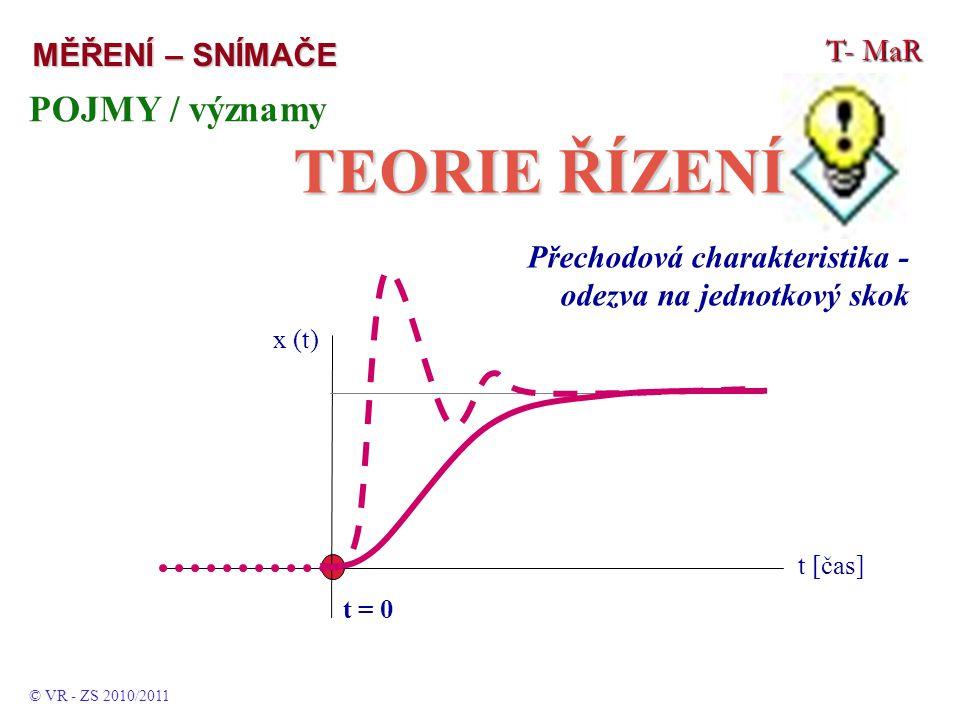 T- MaR MĚŘENÍ – SNÍMAČE POJMY / významy TEORIE ŘÍZENÍ © VR - ZS 2010/2011 Přechodová charakteristika - odezva na jednotkový skok t [čas] t = 0 x (t)